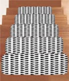 iPrint Non-Slip Carpets Stair Treads,Cat,Cute Black Cat Figures on White Backdrop Playful Friendly Animals Posing Domestic Pets Decorative,Black White,(Set of 5) 8.6''x27.5''