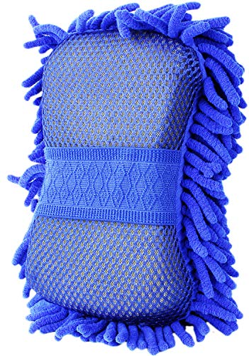 7. Chenille Microfiber Premium Car Wash Mitt Glove with Sponge by Fortress Auto
