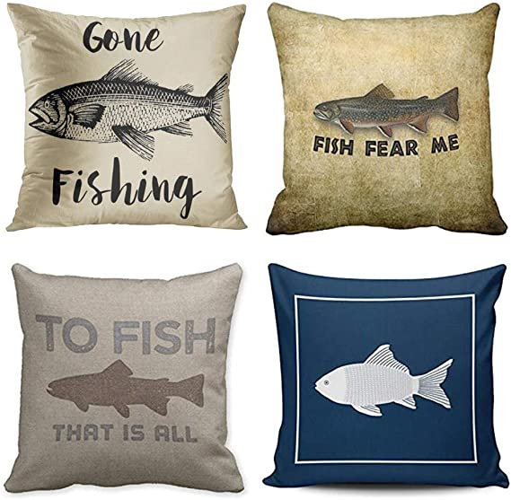 Emvency Set Of 4 Throw Pillow Covers Fish Fisherman Gone Fishing Rustic Vintage Funny Fear Me Navy Decorative Pillow Cases Home Decor Square 16x16 Inches Pillowcases Home Kitchen Amazon Com