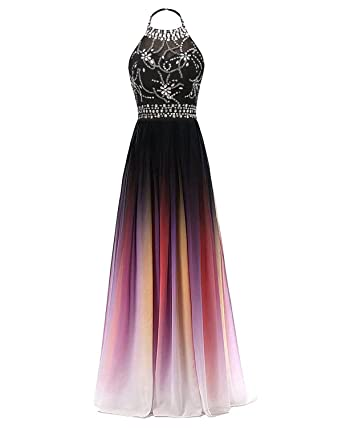 cdddcbbea49 HEAR Women s Gradient Halter Long A-Line Prom Gown Ombre Chiffon Backless  Party Dresses Hear160