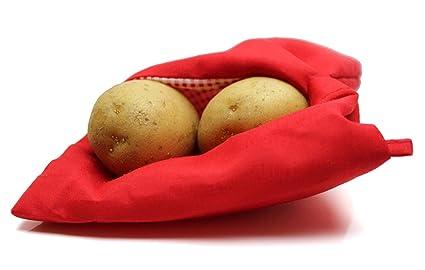 Tiempo 3 X Bolsa para cocer Patatas de microondas Rojo ...