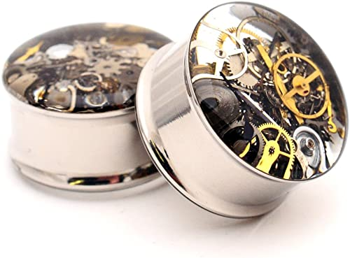 Mystic Metals Body Jewelry Gold Steel Double Flare Tunnels Sold As a Pair 1//2 Inch 12mm