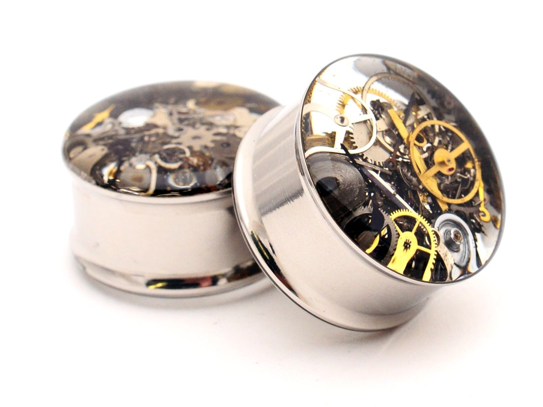 Mystic Metals Body Jewelry Embedded Steampunk Watch Parts Plugs -5/8 Inch - 16mm - Sold As a Pair 3