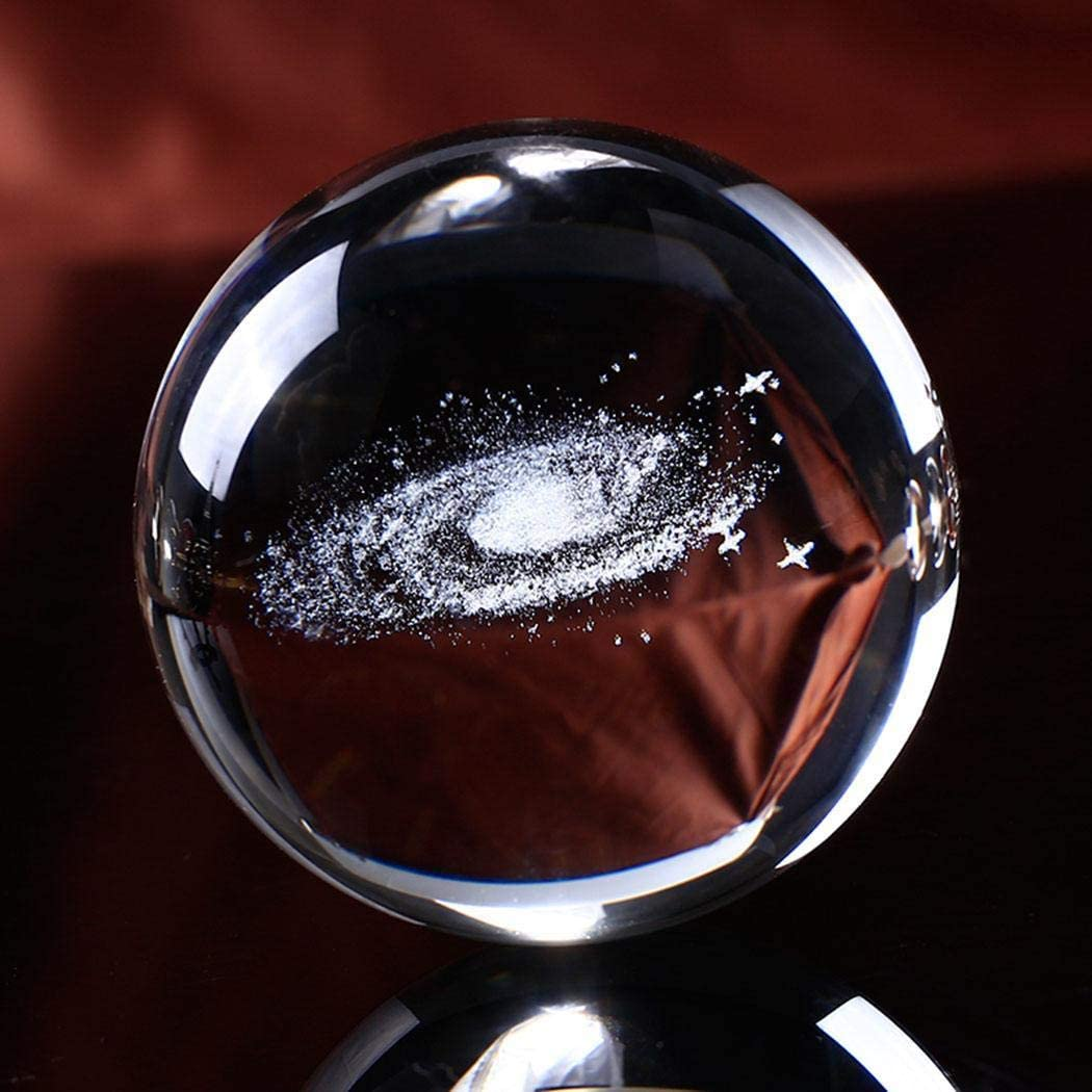 Eubell Milky Way System Crystal Ball 60mm with 3D Laser Engraved Sun System