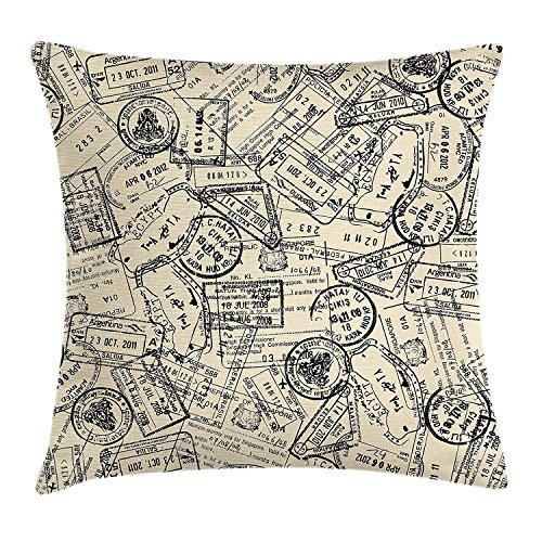 Retro Throw Pillow Cushion Cover, Vintage Stamps Nostalgic Traveler International Letter Country Vintage Journey Image, Decorative Square Accent Pillow Case, 18X18 Inches, Ivory (Joy Letter Shop Iron)