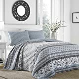 MISC 3pc Grey Medallion Floral Stripe Theme Quilt Full/Queen Set, Girly Boho Chic Horizontal Patchwork Striped, Vibrant Color Charcoal, Southwest Tribal Aztec Printed Bedding