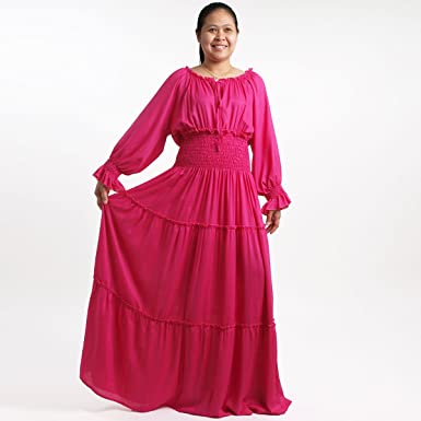 Plus Size Smocked Peasant Maxi Long Dress - MD0905-Hot Pink ...