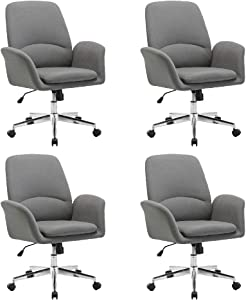 NOVIGO Upholstered Home Office Chair with Comfy Back Support for Conference Room Study Grey