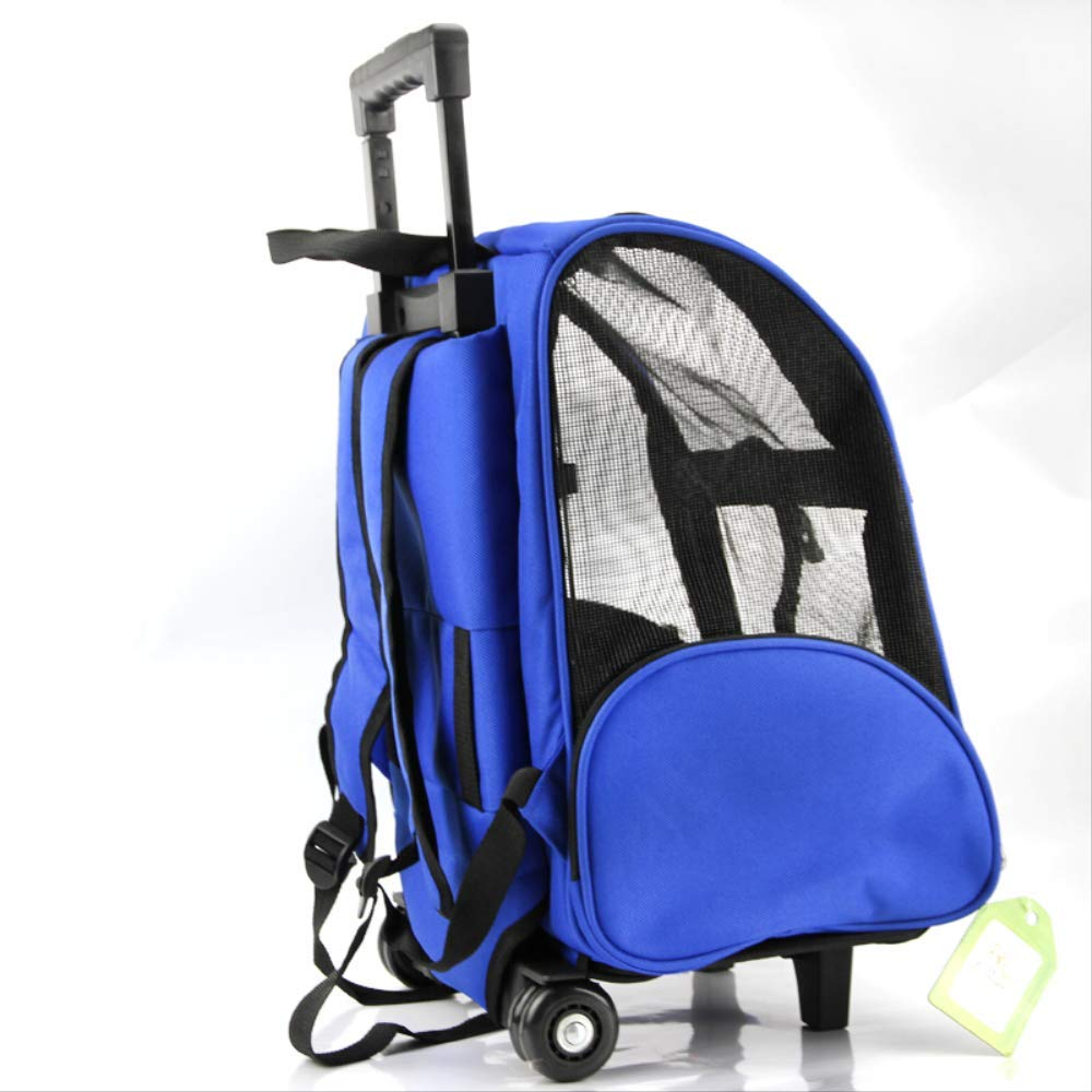bluee 50X38X22cmPet bag out portable bag trolley Backpack dog cat backpack Wheel Carrier Strollers Breathable Puppy Travel Transport Bag 50X38X22cm bluee