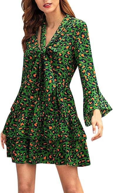 Vectry Vestidos con Mangas De Volantes Vestidos De Verano 2019 Elegante Vestidos Largos Casual Primavera Vestidos Mujer Casual Vestidos De Coctel Elegantes Vestido Cruzado Midi