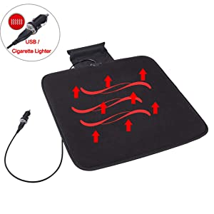 Big Hippo Heated Seat Cushion, 12V Heated Car Seat Cushion Cover Pad Winter Warmer with USB - Universal Fit for Car Trucks Auto Supplies Home Office Chair(Black)