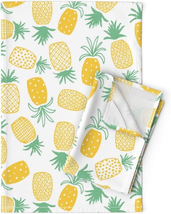 Happy Illustration Fabric Art Print Dishtowel Fruity Tropicana Tropical Fruits Cotton Linen Dish Cloth Table Decor Pineapples Tea Towel