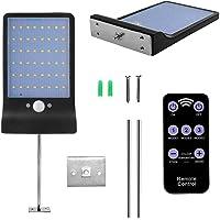 Luz Solar 48 LED, WINSUNY Foco Solar LED Exterior con control remoto 3 Modos Lámparas de Pared IP65 Impermeable Luz de solar con sensor de movimiento, 7 temperatura de color ajustable, Ideal para Aire Libre, Jardín, Camino, Patio, Garage, Escaleras y Pasillos