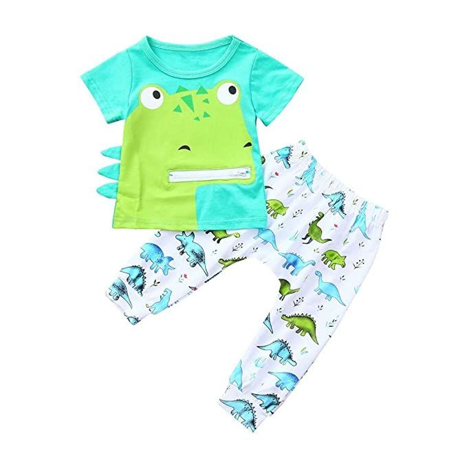 881d65444f598 Amazon.com: Dinosaur Outfit, Infant Toddler Baby Boys Girls Clothes Cute  Cartoon Dinosaur Print Tops T Shirt Pants Outfits Set 0-2 T: Clothing