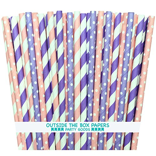 Outside the Box Papers Lilac Lavender and Pink Polka Dot and Striped Paper Straws 7.75 Inches 100 Pack Pink, Lilac, White (Lavender Paper Straws)