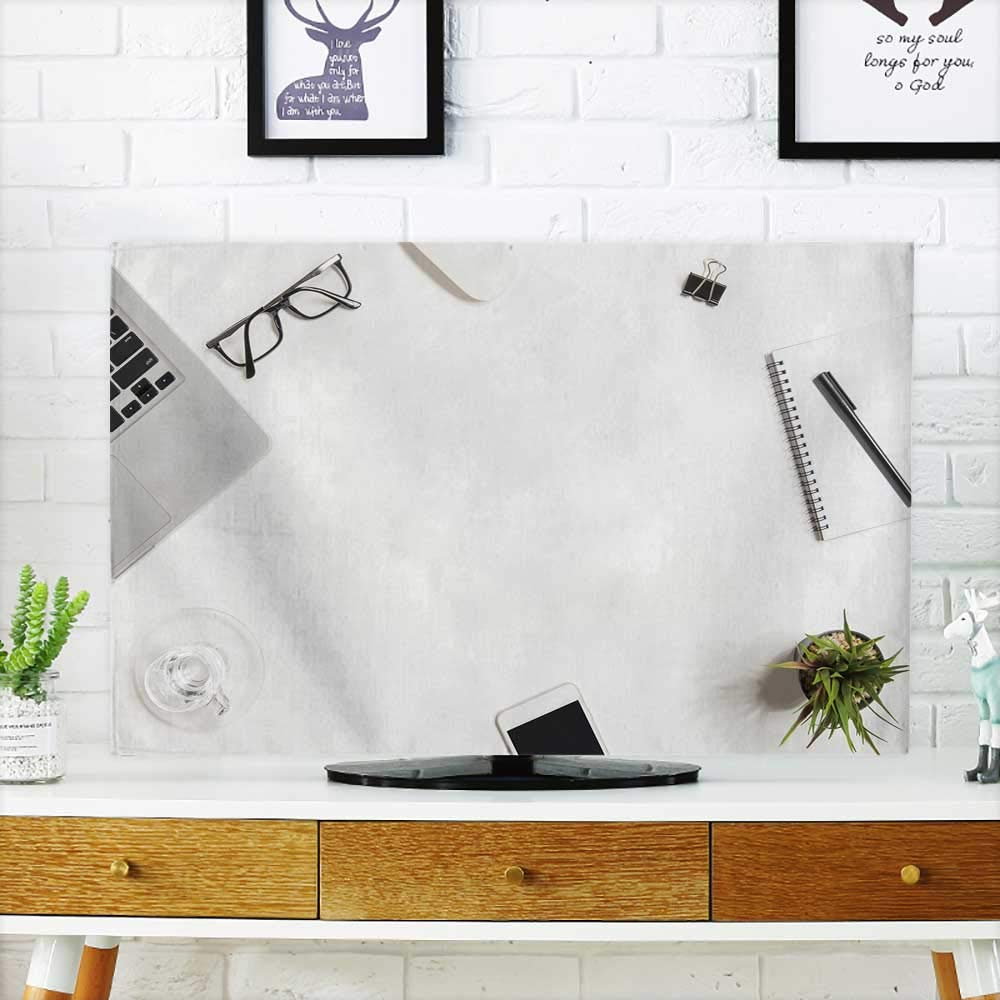Analisahome Cord Cover for Wall Mounted tv White Office Desk Table with Laptop and Supplies top View Cover Mounted tv W19 x H30 INCH/TV 32'' by Analisahome (Image #1)