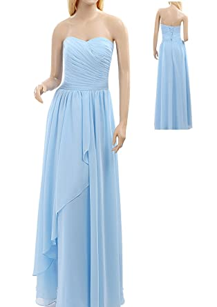 Bampo Simple Sweetheart Neckline Chiffon Cheap Formal Dresses With Ruched (2, Light Sky Blue