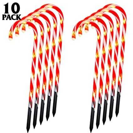 Whonline Christmas Candy Cane Pathway Markers Set of 10 Candy Cane Lights Christmas Decoration Lights for Patio Yard Paths Fences Indoor Outdoor (60 Bulbs) best outdoor Christmas decorations
