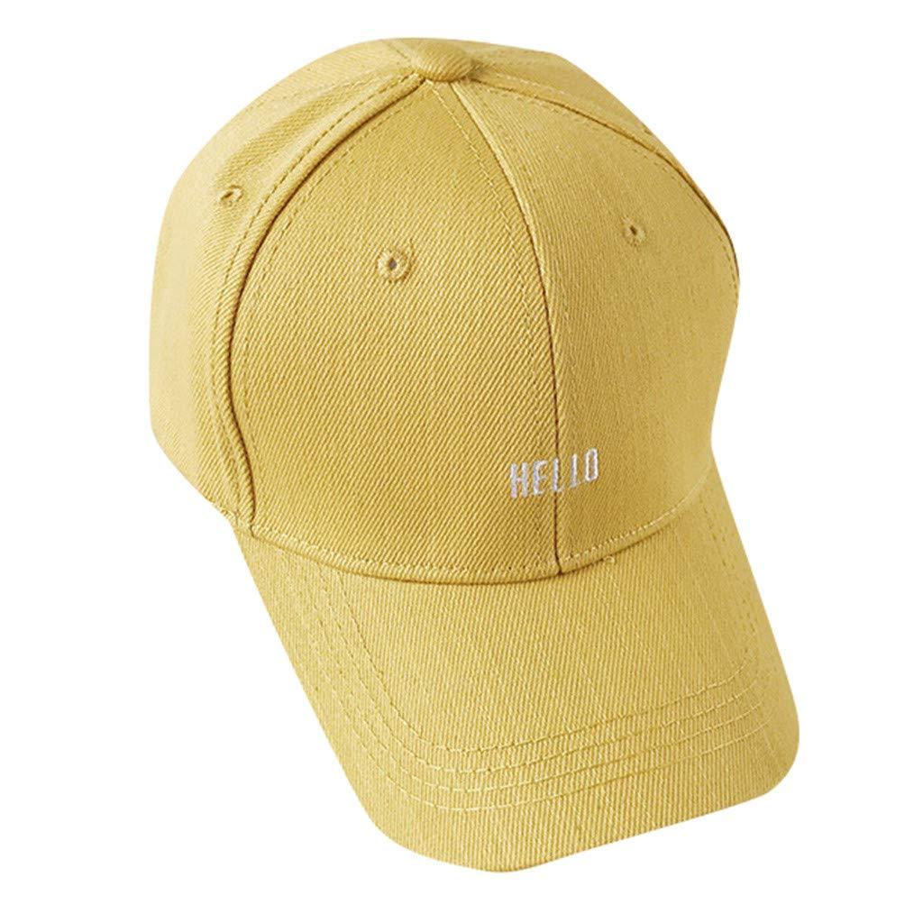 Tanlo 2019 New Summer Unisex Men Women Casual Baseball Cap Sport Fashion Solid Color Letter Hats (Yellow, Size:56-58CM)