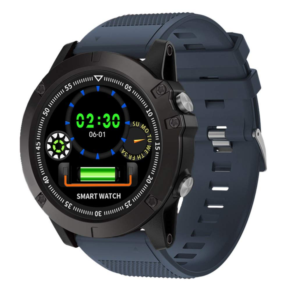IP68 Blue&Tooth 4.0 Smart Watch Heart Rate Smart Blood Pressure for T1Tact (Blue)