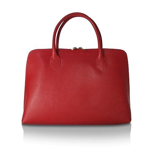 cfb06d74ce377 Sunlike Borsa 100% Vera Pelle Made in Italy a Mano Spalla con Tracolla  Rossa  Amazon.it  Abbigliamento