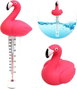 Pull Together Floating Swimming Pool Thermometer, Pond Water Thermometer with String, Baby Pool Thermometer, Shatter Resistant, for Outdoor & Indoor Swimming Pools, Spas, Hot Tubs, Jacuzzis (Flamingo)