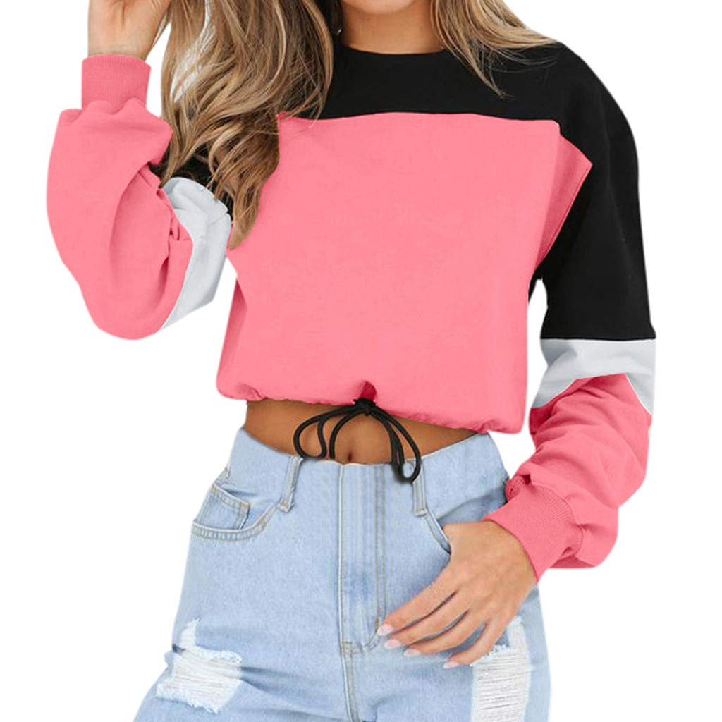 Opinionated Fashion Womens O-Neck Splcing Color Long Sleeve Sweatshirt Pullover Tops Blouse by Opinionated