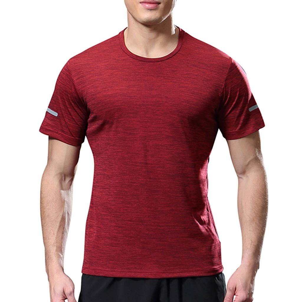 Men's Sun Protection Outdoor Short Sleeve Performance T-Shirt Solid Blouse for Gym Running Red