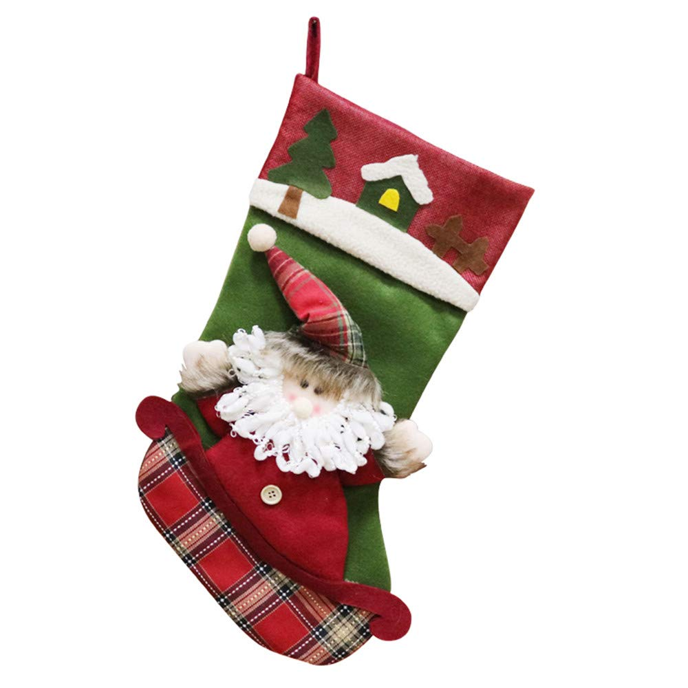 Xmas Stockings, Christmas Party Tree Decorations Bags Santa Reindeer Snowman Candy Sock Bag Party Decor (Multicolor A, One Size)