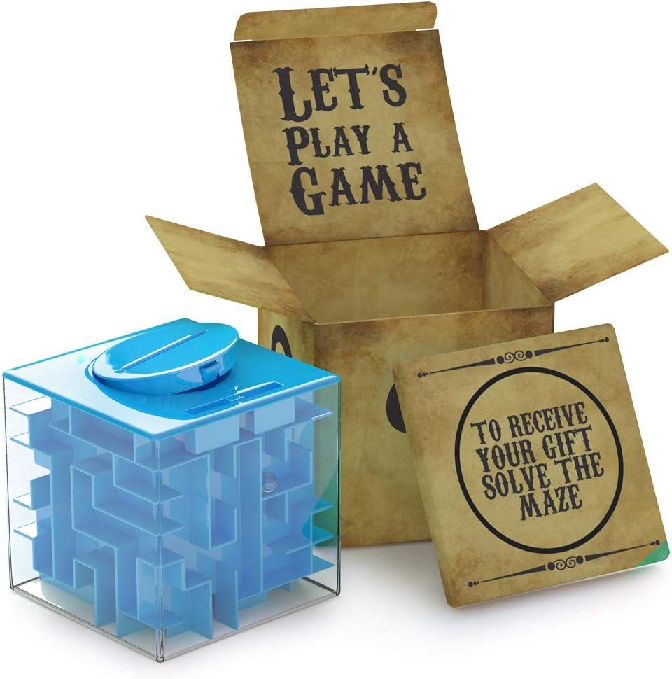 AGREATLIFE Caja Money Maze Laberinto De Dinero | Cubo Puzzle Rompecabezas | Idea Original para Regalar A Niños Y Adultos | Kit De Recompensa Reutilizable | Laberinto con Sorpresa | Lado 7.6 Cm, Azul