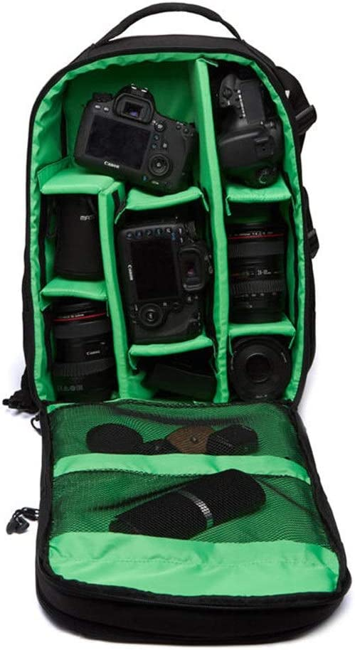 Color : Green, Size : 27x18x4.2cm Multi-Functional Waterproof 15.6inch Laptop DSLR Camera Bag Video Case Padded Backpack Green