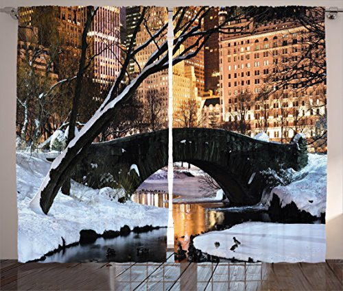 Ambesonne NYC Decor Collection, New York City Manhattan Central Park Lake Bridge In Freezing Winter At Dusk Panorama, Living Room Bedroom Curtain 2 Panels Set, 108 X 84 Inches, Brown Black White