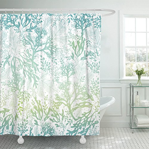 Marina Shower Curtain - Emvency Shower Curtain Green Sea Blue Freen Seaweed Great for Elegant Gray Kelp Marine Waterproof Polyester Fabric 72 x 72 inches Set with Hooks