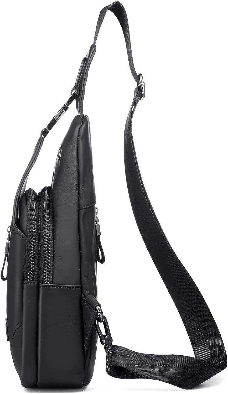 Mens Leather Sling Bag Chest Bag One Shoulder Bag Crossbody Bag Backpack