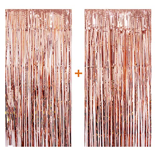 [2-Pack] Rose Gold Foil Curtain, 3.2ft x 9.8ft