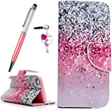 ZSTVIVA iPod Touch 6 Wallet Case,Touch 5 Case,Premium PU Leather Magnetic Flip Cover Full Protective Bumper Skin with Card Slots kickstand Side Pocket for iPod Touch 5th &6th Generation - Pink & Black