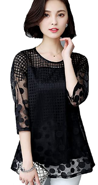 746afecb4f4 Image Unavailable. Image not available for. Color  Women s Plus Size 3 4  Sleeve Loose Sheer Chiffon Lace Blouse Tops