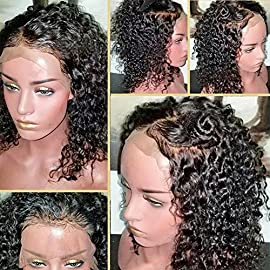 360 Lace Frontal Wig 180% Density Curly Hair Pre-Plucked Hairline Brazilian Virgin Hair 360 Lace Wigs with BaBy Hair