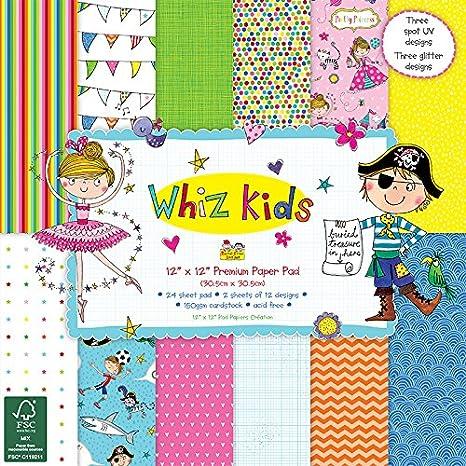 """/'Whiz Kids by Rachel Ellen/' 8/"""" x 8/"""" FSC Glitter Decoupage Papers 8 SHEETS"""