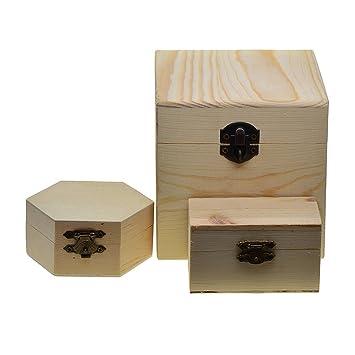 Homyl Caja de Almacenamiento de Madera para Manualidades de Bricolaje,Decoupage