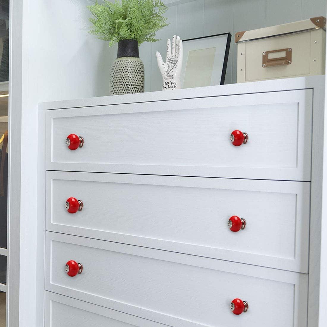 Rouge. 4pcs Sourcing map Boutons en c/éramique vintage avec poign/ée ronde /à tirer pour meubles de porte commode armoire