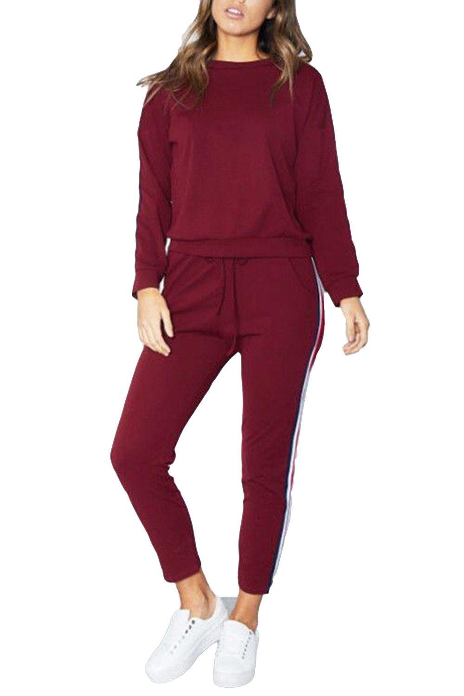 Oops Outlet Womens Ladies Tracksuit Sweatshirt Side Striped Top Pants Sport Suits 2 Piece BE JEALOUS
