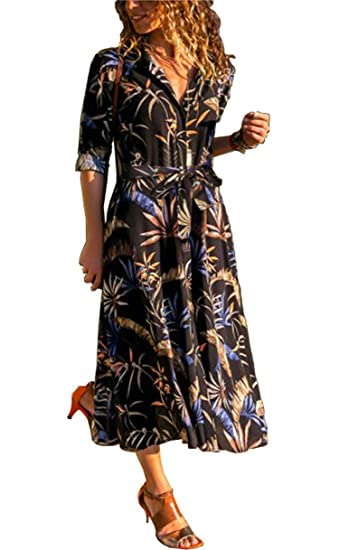 8174daf6b397 ALAIX Women s Casual Long Sleeve V Neck Floral Print Maxi Shirt Dress with  Pockets   Belt Black-L at Amazon Women s Clothing store