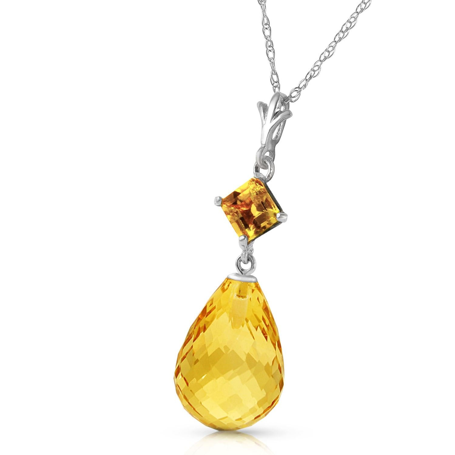 ALARRI 5.5 CTW 14K Solid White Gold Calm After Storm Citrine Necklace with 20 Inch Chain Length