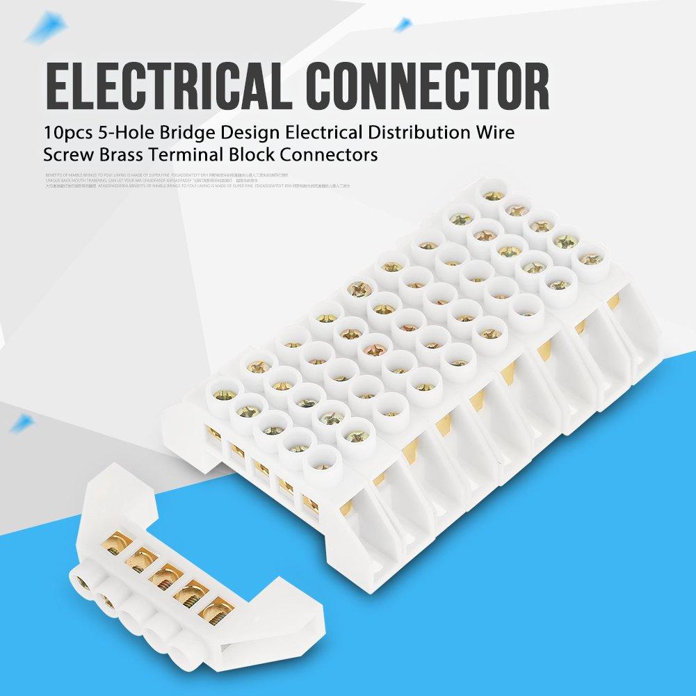 Acogedor 5 Hole Bridge Design Screw Brass Terminal Block Connectors Wiring Distribution Connectorselectrical Wire Industrial Scientific