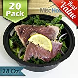 Misc Home Round Meal Prep Containers Durable Plastic with Airtight Lid, 20 Pack - Black