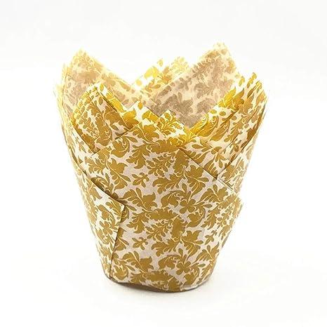 KANGJIABAOBAO Molde de Taza para Hornear Brown Gold Tulip ...