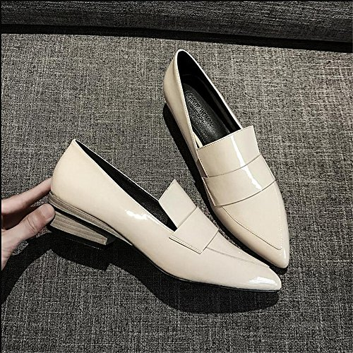 Schuhe Lazy Schuhe Dick mit Pumps Den Füße mit Leder Spitz Frauen Klein in Sets Schuhe Patent Mund Low Xue Scoop der Schuhe Qiqi AqSwTpR