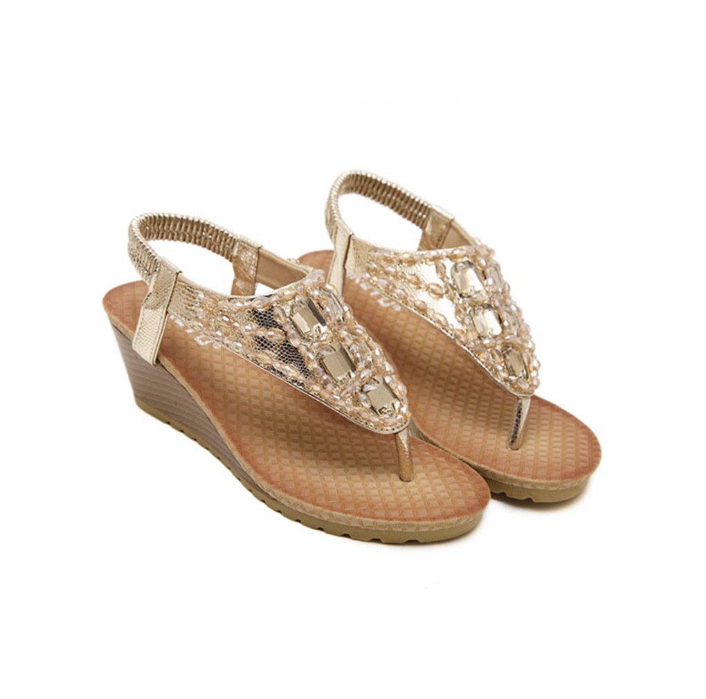 AVENBER Women Boho Wedge Sandals Rhinestone Beads T-Strap Platform Heel Anti-Skid Shoes B07CL7T9R7 8 B(M) US|Golden