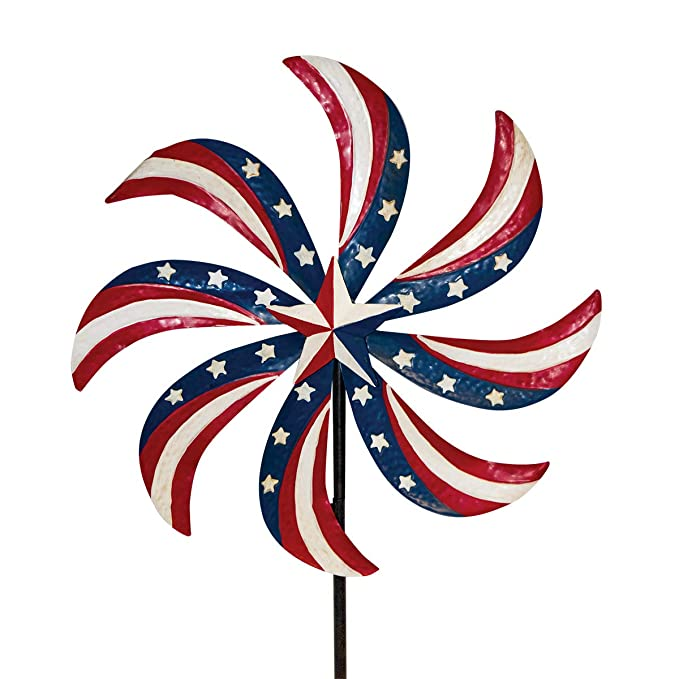 Briarwood Lane Patriotic Pinwheel Metal Wind Spinner USA Yard Stake 20